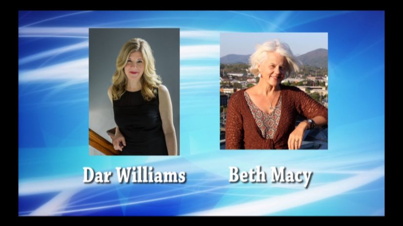 Dar Williams and Beth Macy graphic creatived for live stream/live streaming